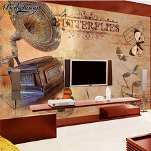 beibehang Custom TV backdrop 3d retro nostalgic living room mural fashion music theme decorative painting papel de parede