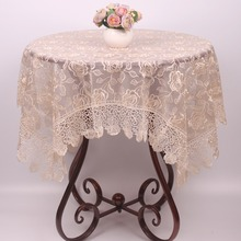 New Light Brown Rose Embroidered Table Cloth for Christmas Holiday Wedding Decor / Elegant Handmade Chinese Red Lace Table Cover