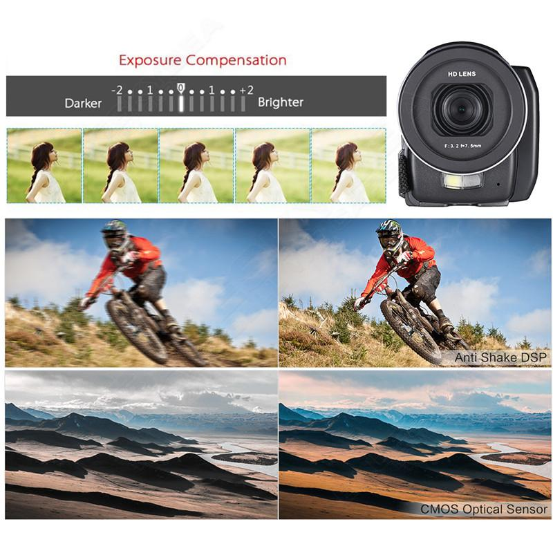 "ORDRO HDV-F5 1080P Digital Video Camera Max 24MP 16X Anti-shake 3.0"" Touch Screen LCD Camcorder DV With Remote Controller 5"