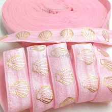 "Buy New Arrival Pink Shell Gold Foil Fold Elastic 5/8"" FOE Elastic Ribbon Hair Tie Hair Accessories DIY Headwear 10Y for $3.54 in AliExpress store"