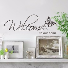 3 style welcome to our home vinyl quote wall decal home decoration diy removable wall stickers(China)