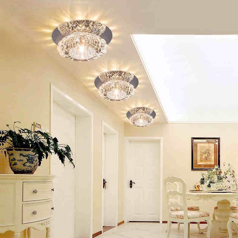 Round Crystal Light Hallway Foyer LED Crystal Ceiling Lamp 3W 5W Corridor Aisle Lamparas de techo Lustre Lights Home Decor <br><br>Aliexpress