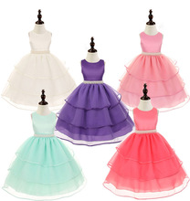 2016 new girls dress princess dress children party wear veil Hand-sewn beads dress belt girl wedding dress white baby girls