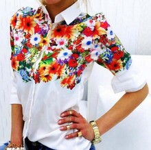2017 New Design Floral Butterfly Printed Women Chiffon Blouses White Shirts Casual Office OL Spring Summer Women Tops C011(China)