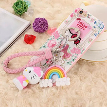 Cute Hello kitty Soft TPU Cartoon Stand Holder Ultra Thin Back Cover Case For iPhone 5 5S SE 6 6S Plus Finger Ring Lanyard Doll