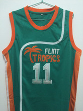 SexeMara Flint Tropics Semi Pro Movie Throwback Basketball Jerseys,#11 Ed Monix Green Stitched Movie  jersey Free Shipping