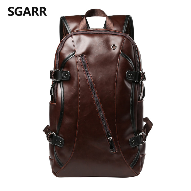 Casual Crazy Horse PU Leather Mens Backpack College School Bags 14 inch Laptop Bag Large Capacity Travel Bag For Busniess<br><br>Aliexpress