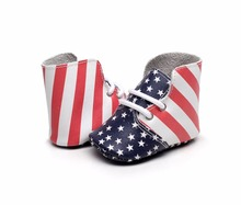 New Fashion high heel Boots USA flag airhole Design genuine leather baby moccasins lace-up soft sole First walkers baby shoes