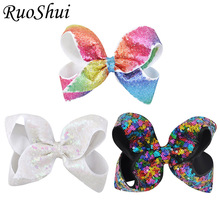 3pcs Boutique Pretty Hair Bows Rainbow Hair Clip With Sequins Hairpins Girls Kids Hair Accessories Newest Festival Birthday Gift
