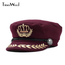 Wool Felt Womens Military Hats Army Navy Types Party Queen Caps For Women Winter American Embroidery Wheat Custom Crown New Hat(China)