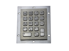 Metal computer keyboard with 18keys stainless steel keyboard washable keyboards vandal proof keypads silicone keyboards
