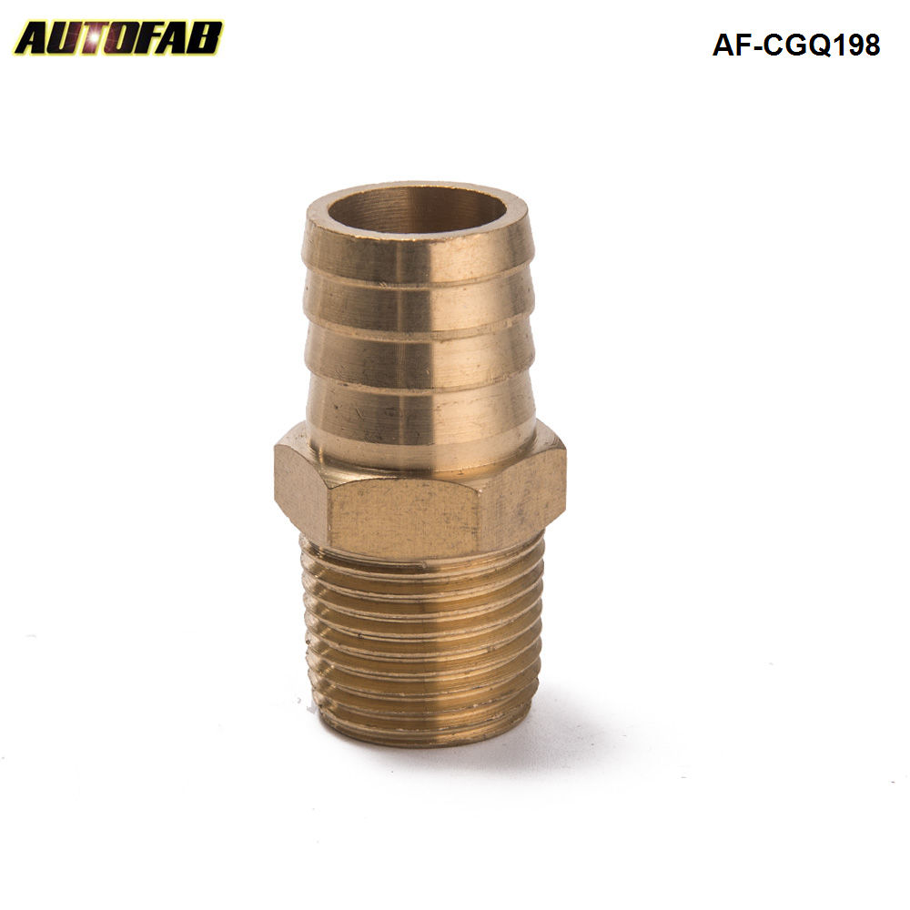 """AUTOFAB -  Brass Barb Fitting Coupler 1/2"""" Pipe  ID To 3/4"""" Hose  Fuel Gas Water AF-CGQ198"""