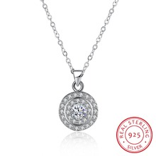 High quality 925 Sterling Silver Pendant Necklace with AAA zircon Engagement / Wedding Jewelry For Women N116
