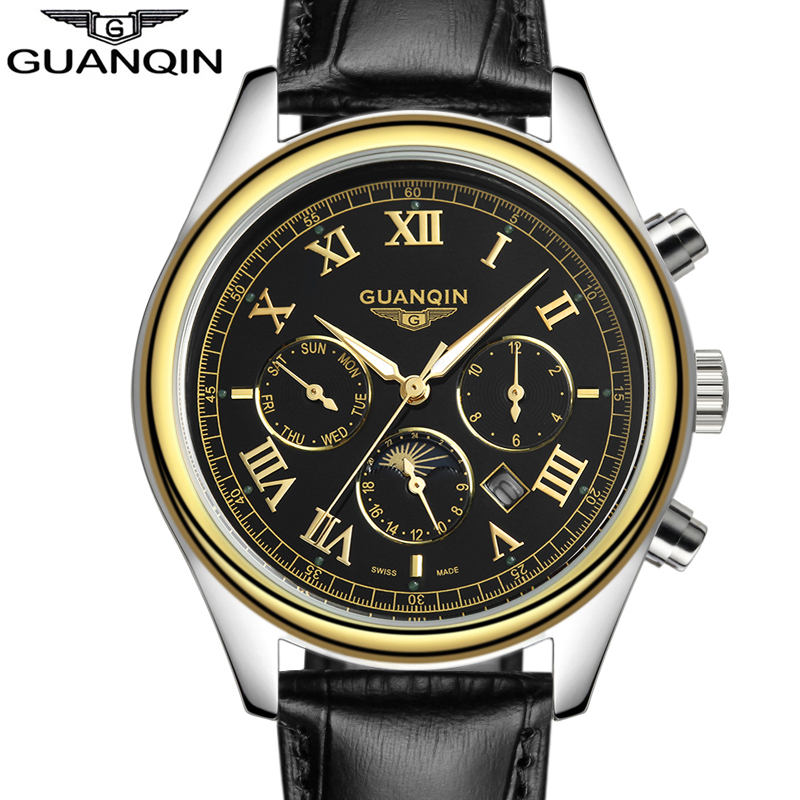 relogio masculino 2017  Watch Men  Luxury Brand 24 Hours Date Luminous Genuine Leather Quartz Watch Mens Sport Watches<br>