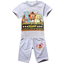 Tracksuit Girls Sports Suits Kids Clothes Short T shirt and pant Sets Children Boys Cartoon Five night at freddy Clothing Sets(China)