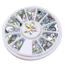 New Arrival Colorful Nail Glitter Horse Eyes Design Crystal Stone Nail Wheel Women Make Up Decoration Nail Art Charm DIY Slices(China)
