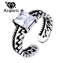 Twist Chain Design Thailand Silver Jewelry Rings Cubic Zircon 925 Silver Ring for Women Red/Black/White Colors Available