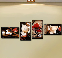 Free shipping High quality Hand-painted Group Oil painting on canvas Big Modern Abstract Red Flower Paintings 5 panels