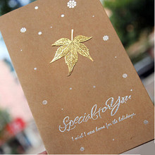 5pcs golden leaves greeting card/invitation cards,best wishes thanks card congratulation happy birthday party decorations favors
