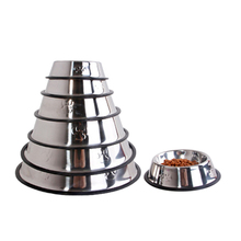 6 size Non-Slip Dog Bowls Stainless Steel Puppy Cat Food Water Dish Pet Supplies Feeding Drinking Dogs Feeder