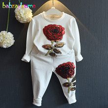 babzapleume spring autumn korean children clothing store Rose t-shirt+pants baby girls outfit sport suit kids clothes set BC1077(China)