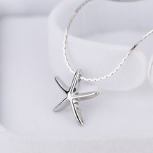 BONLAVIE New Fashion Simple Style Exquisite Cute Women Silver Plated Ocean Sea Life Jewelry Starfish Pendant Necklace