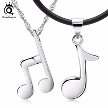 ORSA JEWELS Fashion Couple Silver Color Necklace with Musical Note Pedant for Men Women Eternity Precious Gift of Lover ON44(China)