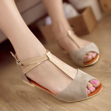 Summer New Women Gladiator Roman T-Strap Flat Fashion Sandals Shoes Drop Shipping