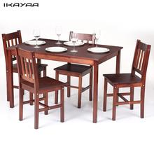 iKayaa Modern 5PCS Wood Dining Set Kitchen Dinette Table with 4 Chairs Furniture 150KG Capacity Dark Brown/Honey Color DE Stock
