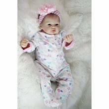 "Realistic Newborn 22"" 55cm Handmade Lifelike Newborn Baby Doll Reborn Soft Silicone Vinyl Hair Rooted Gift for Girl"