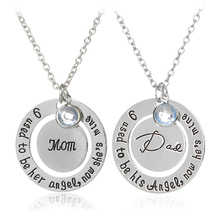 I Used To Be His/Her Angel Now He's/She's Mine Dad/Mom Crysal Memorial Necklace,In Memory Of Mothers Father's Day Gift