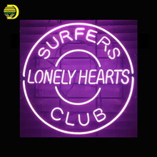 Neon Sign For Surfers Club Glass Tubes Lonly Hearts Neon Bulbs neon Beer Bar Sign custom Handmade Advertise neon signs for sale(China)