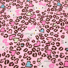 140X100cm Pink Leopard Background Hello Kitty Polyester Cotton Fabric for Baby Girl Cloth Sewing Patchwork DIY-AFCK107