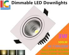 Dimmable 3W 300LM Rectangular LED Downlights 85-265V Recessed Ceiling light CE Ultra bright Home Furnishing lighting Grille lamp(China)