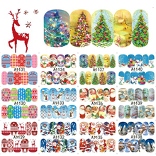 1 Sheet Nail Art Christmas Style Water Transfer Nail Stickers Santa/Snowflake/Tree Nail Tips Decals Full Wraps DIY LAA1129-1140