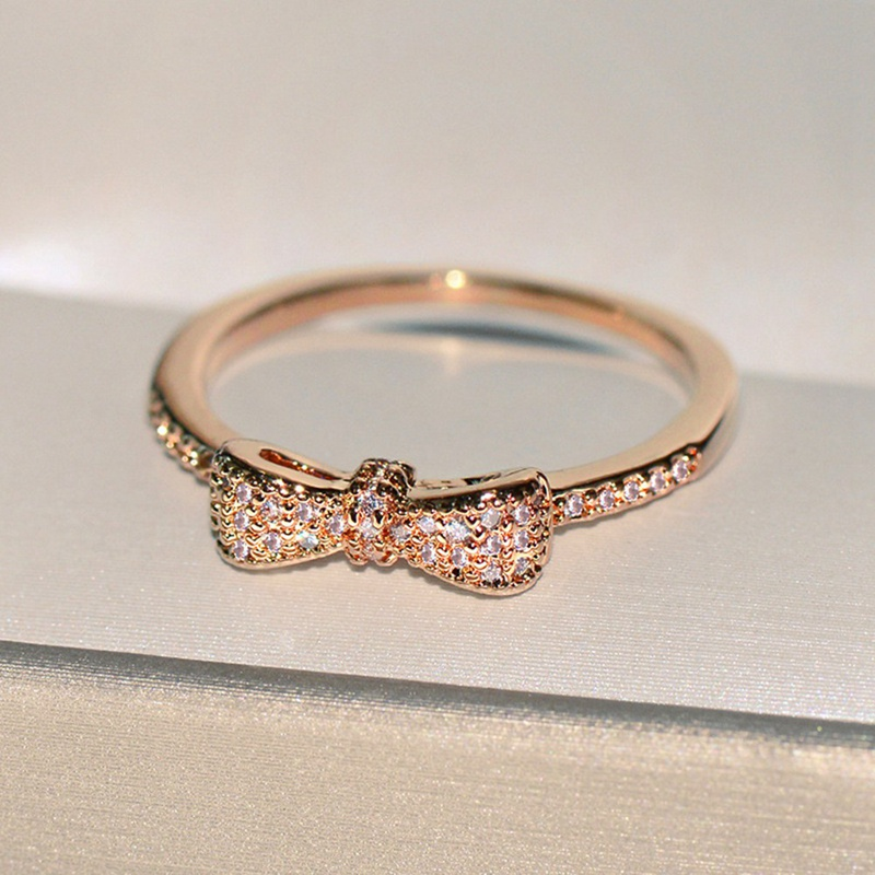 Rose Gold Delicate Bow Rings With Crystal For Women Wedding Party Gift Fine Europe Jewelry Gift