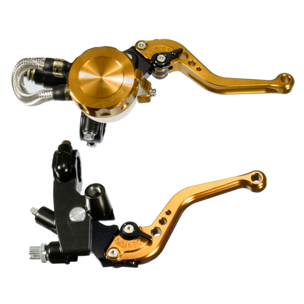 New 7/8  Universal Motorcycle Brake Levers Clutch Gold Silver Red Blue Black Clutch Master Cylinder Reservoir Kit<br><br>Aliexpress