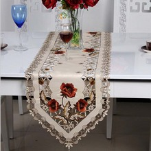 1pc Elegant Polyester Embroidery Table Runner Embroidered Floral Cutwork Table Cloth Linen Covers Runners H1323(China)