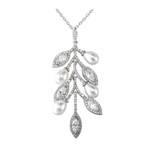 2017 New Fashion Accessories 4 PCS Simulated Pearl with Clear Zircon Tree Branch Leaves Pendant Necklaces China Jewelry Market(China)