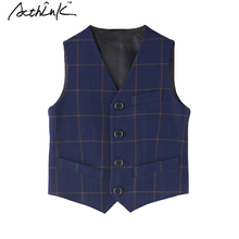 ActhInK New 2016 Boys Plaid Vest England Style Prince Children Wedding Waistcoat Kids Formal Piano Vest for Boys Host Vest, C292