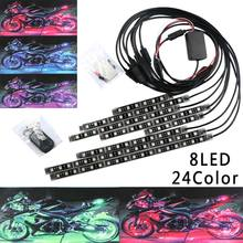 Flexible 8PCS / 6PCS 24Color Motorcycle RGB LED Atmosphere Light Strip Accent Neon Lamp W/Remote Strip Light Tail Motor Styling(China)