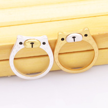 New fashion jewelry cute little bear finger ring  Matte gold silver color for women girl nice gift R1618
