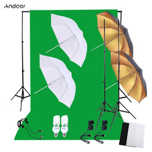 Andoer Professional Photo Studio Photography Lighting Kit with 45W Bulbs Light Stands Green Screen Backdrop Softbox Reflector