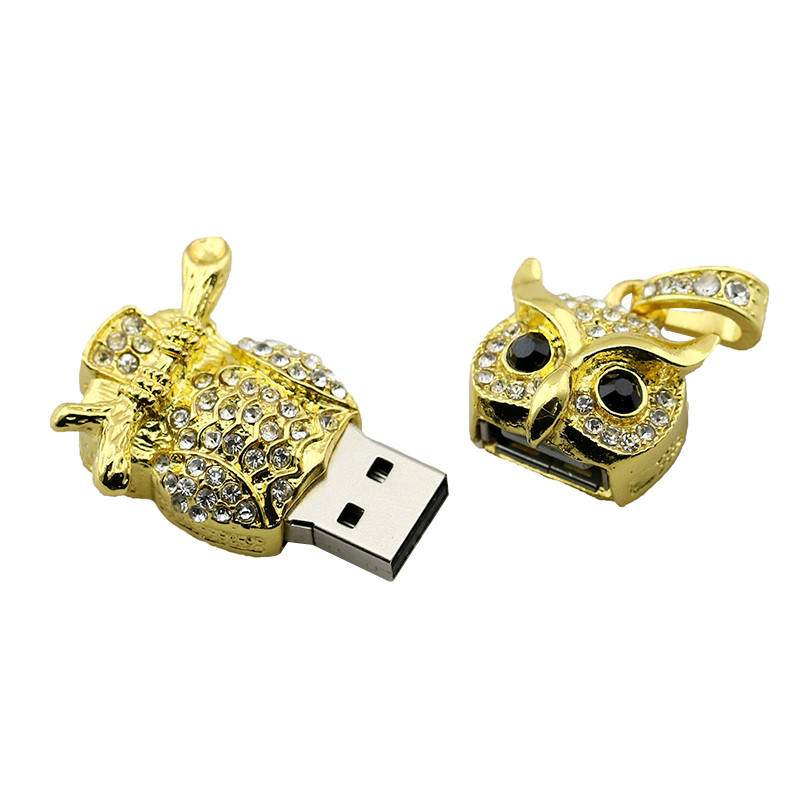 Animal USB Flash Drive Metal Diamond Owl Pendrive Nighthawk Pen Drive 4GB 8GB 16GB 32GB 64GB USB Memory Stick Gift With Necklace 24