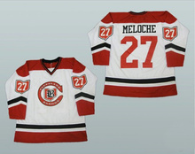 Cleveland Barons #27 Gilles Meloche Hockey Jersey Red White Embroidery Stitched Customize any number and name Jerseys(China)