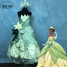 Top Quality ! The Princess And The Frog Tiana Cosplay Costume For Children Girls Kids Halloween Costume Dress Custom Made