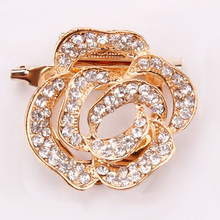 Double Used Clear Rhinestone Pave Golden Rose Floral Design Brooch or Scarf Clip Pins for Women
