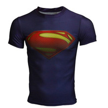 Men Brand Cody Lundin Compression Superman/Captain America T Shirt Men Short Sleeve Gym Tee Elastic Trainning Mens Base Tops