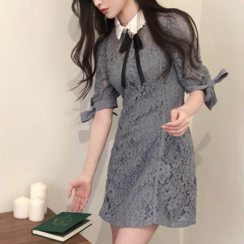 Lace Dress Women Cute Vestidos Summer 2019 Vestido Party Vestido Vintage Vestidos De Festa Elegant Black Office Korean Mini Robe Платье