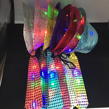 2017 Hot Sale New Woman Man Sequins Light Led Neck Tie Glowing Hip Hop Jazz Hats Cap Flashing Birthday Party Wedding Decor